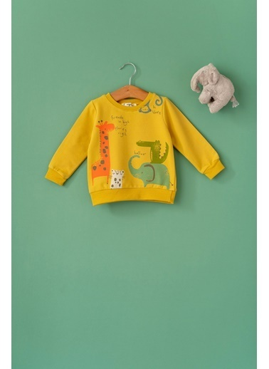 Cigit Animals Baskılı Sweatshirt Renkli